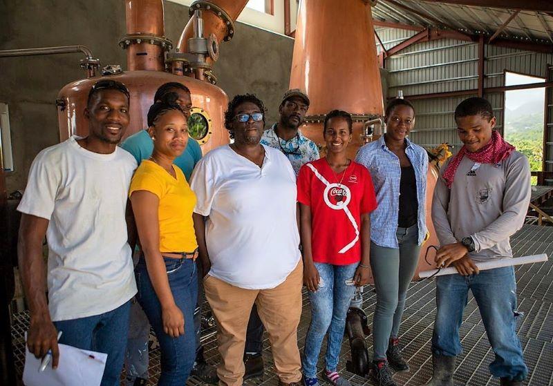 Some of Renegade's team; Head distiller Devon Date, center