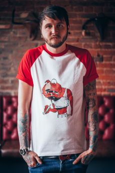 Model with red BB t-shirt