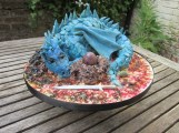 Blue Chocolate Dragon Birthday Cake with Modelling Chocolate Details by Cocoa & Whey Cakes in Winchester, Hampshire