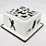 Crossword Puzzle & Silhouette Birthday Cake by Cocoa & Whey Cakes in Winchester