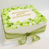 Lime Green Blossoms Birthday Cake by Cocoa & Whey Cakes in Winchester