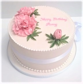 Pink party cake with pink sugar peonies