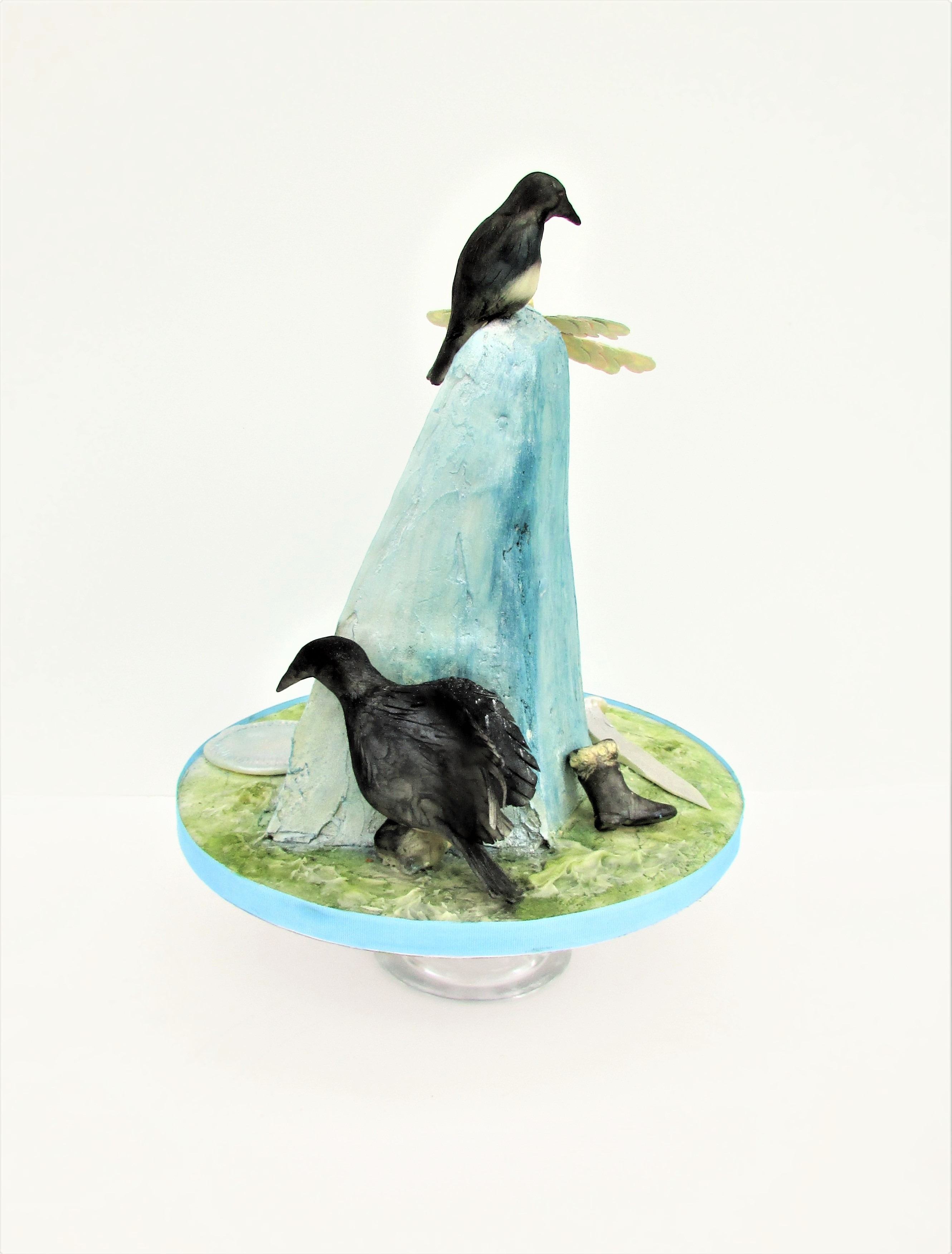 Party cake with blue crystal and sugar birds