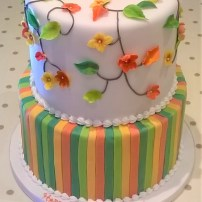 Applique Flower & Stripe Birthday Cake by Cocoa & Whey Cakes in Winchester