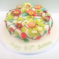 Fantasy Applique Flowers & Leaves Birthday Cake by Cocoa & Whey Cakes in Winchester