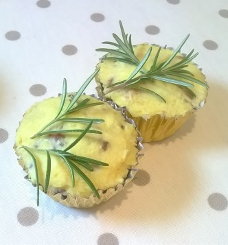 Photo of two cheese and walnut savoury cupcakes