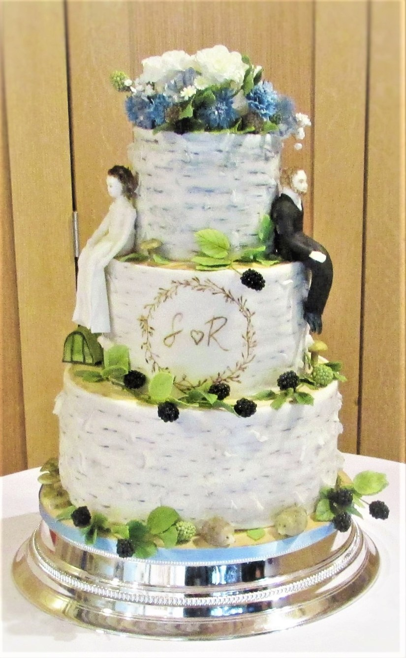 Silver Birch Wedding Cake with handmade Sugar Blackberries & Flowers by Cocoa & Whey Cakes in Winchester, Hampshire