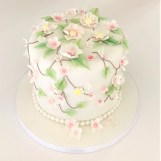 Flower & Leaf Birthday Cake by Cocoa & Whey Cakes in Winchester