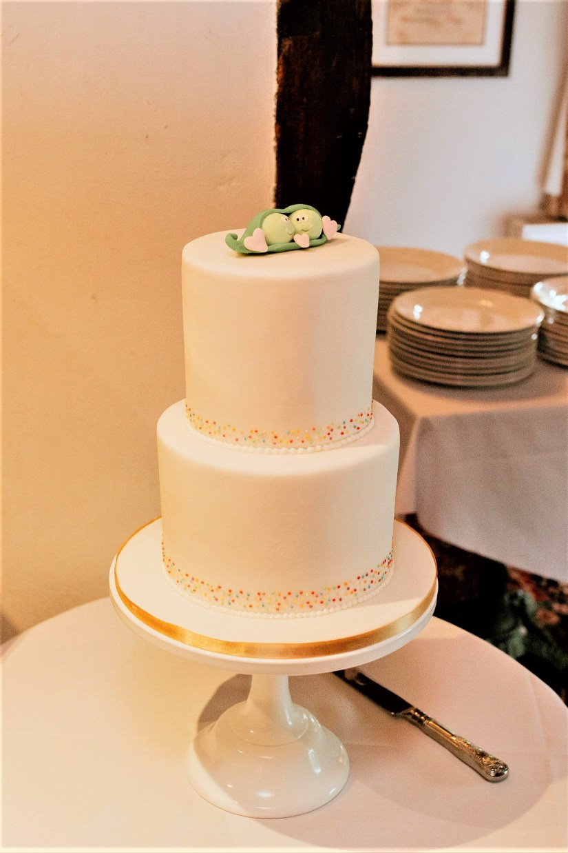 2 tier white wedding cake with rainbow coloured dots