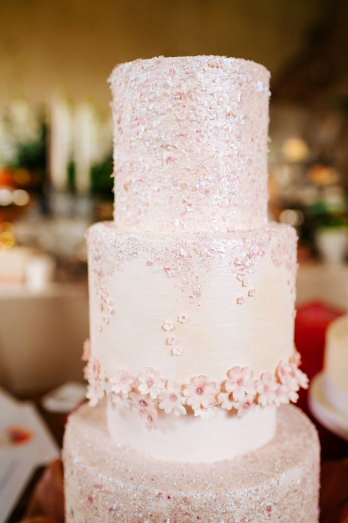 Cherry Blossom Wedding Cake by Cocoa & Whey Cakes with Photo Courtesy of Angela Ward-Brown Photography
