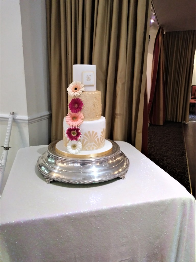 Art Deco Wedding Cake in White & Gold by Cocoa & Whey Cakes