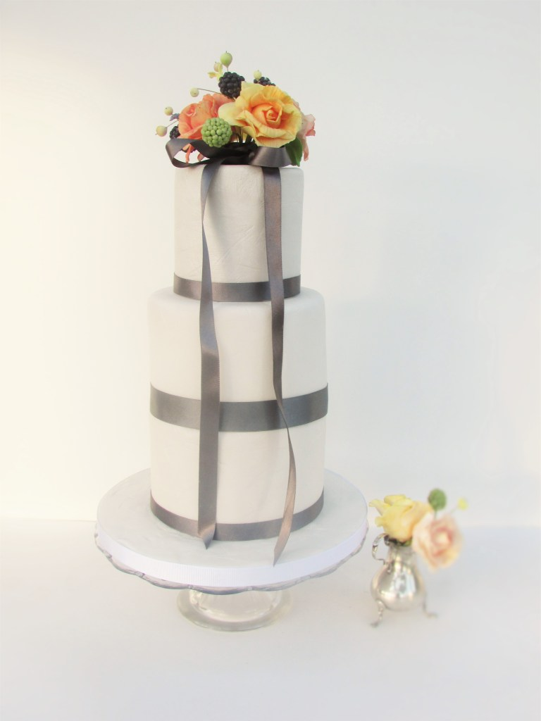Charcoal Ribbons & Sugar Bouquet Wedding Cake by Cocoa & Whey Cakes