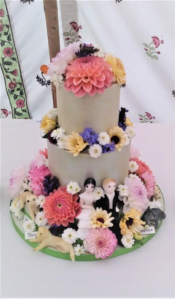 Green Lustred Ganache Wedding Cake with Edible Flowers