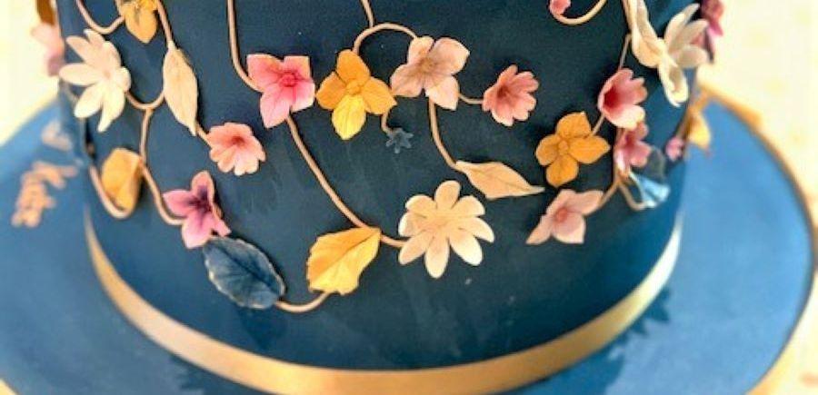 Navy Applique Leaf & Flower Cake