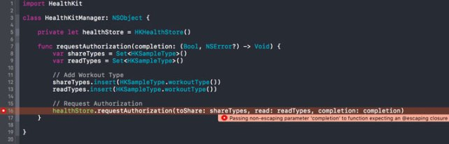 We need to mark the closure as escaping with the @escaping attribute to satisfy the compiler.