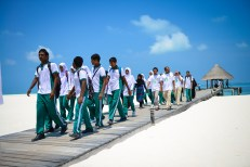 Students and Officials of Thulhaadhoo School arrive at Coco Palm Dhuni Kolhu