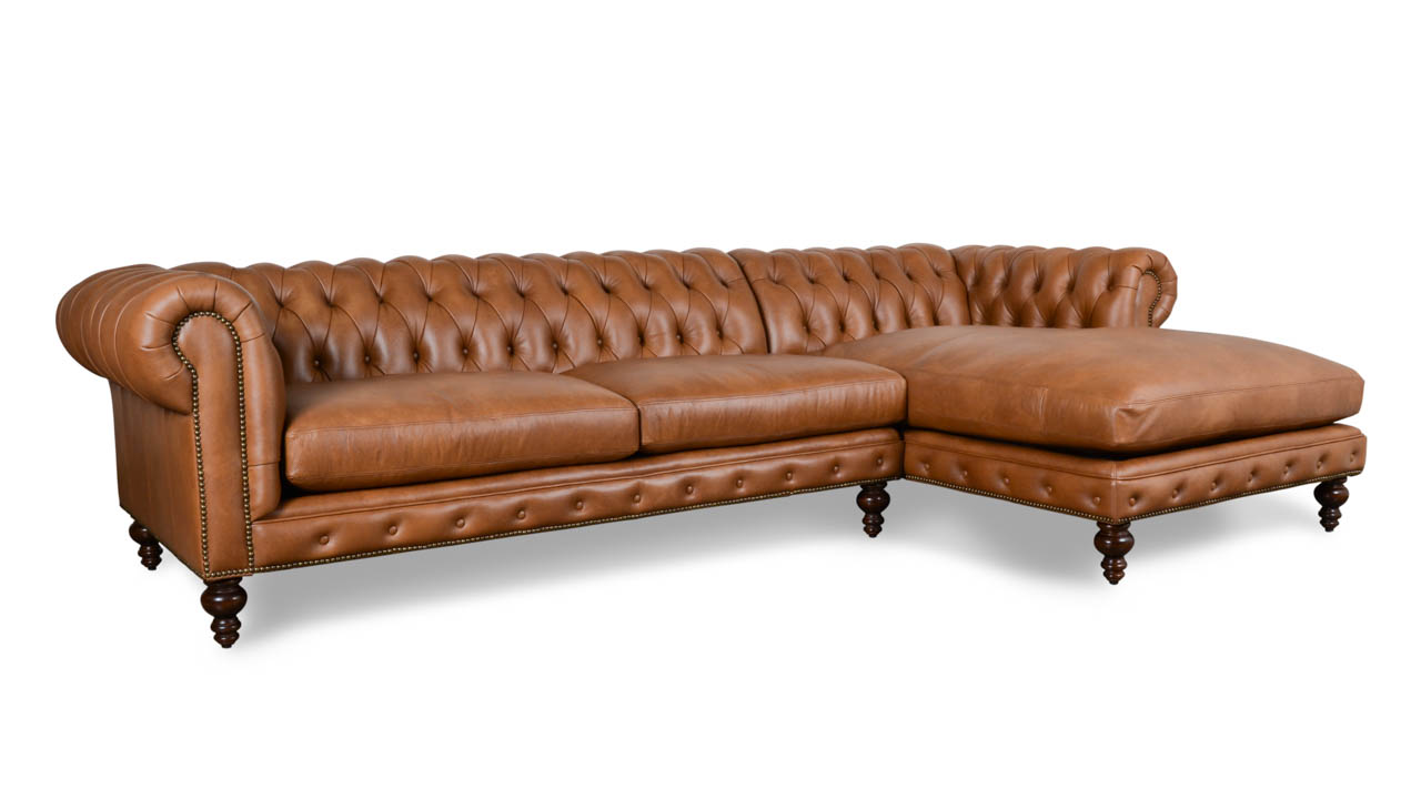 chesterfield tufted nailhead sofa sectional with chaise