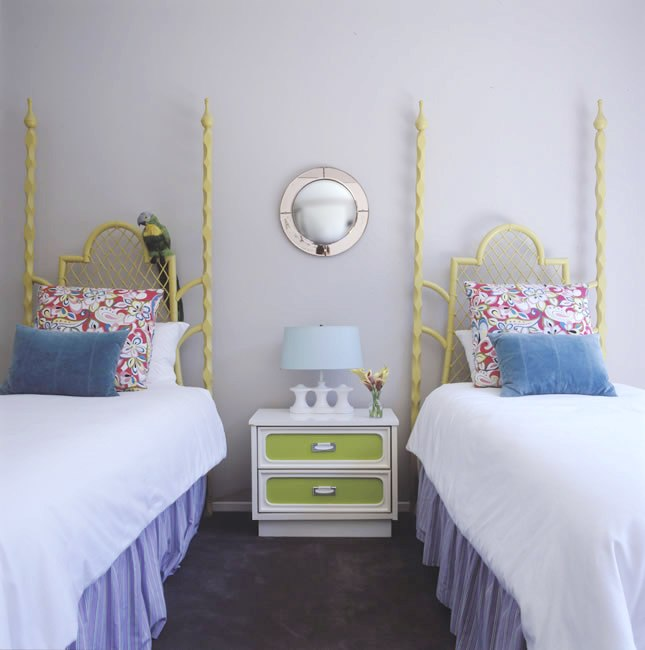 Childrenu0027s Bedroom With Two Twin Beds With Lime Green Spindle Headboards,  Light Purple Walls,
