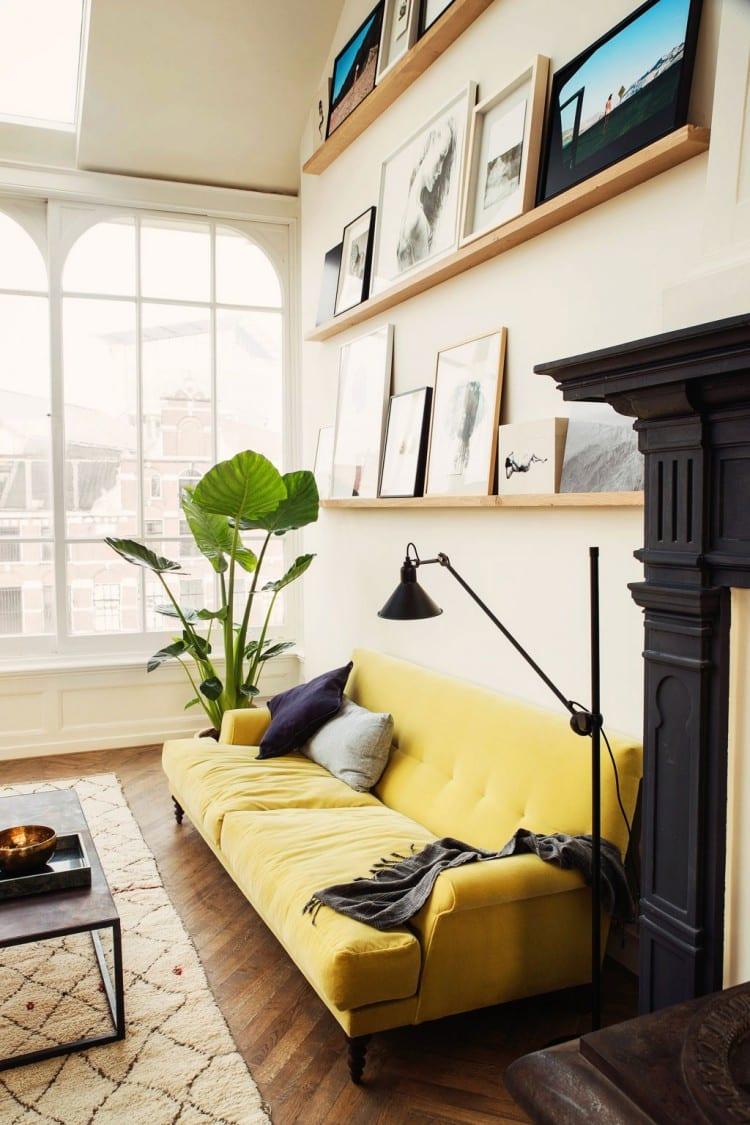 colorful sofas - yellow sofa