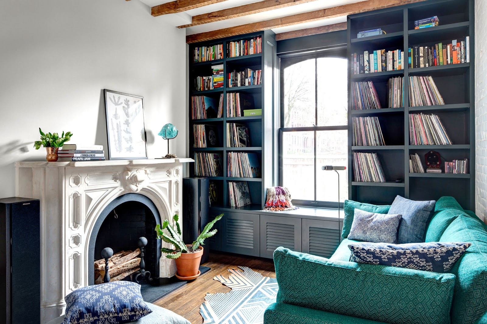 cozy furniture brooklyn. Living Room In A Brooklyn Townhouse With Teal Sofa Cozy Furniture
