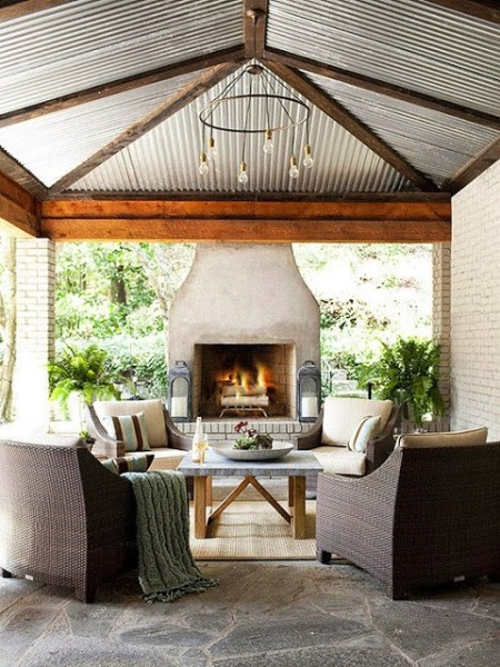 outdoor patio rooms with fireplace OUTDOOR LIVING ROOM - WICKER & BRICK - GET THE LOOK | COCOCOZY