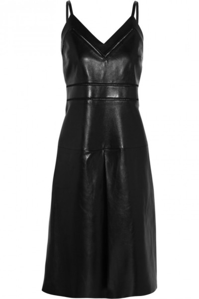 Gucci-Pointelle-trimmed-leather-dress
