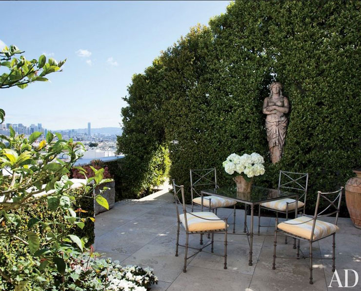 city view patio hedge wall