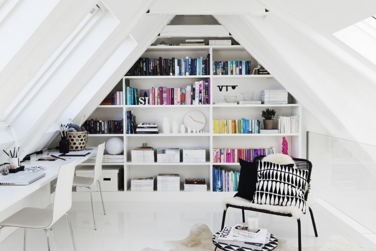 Attic home office maximizing space