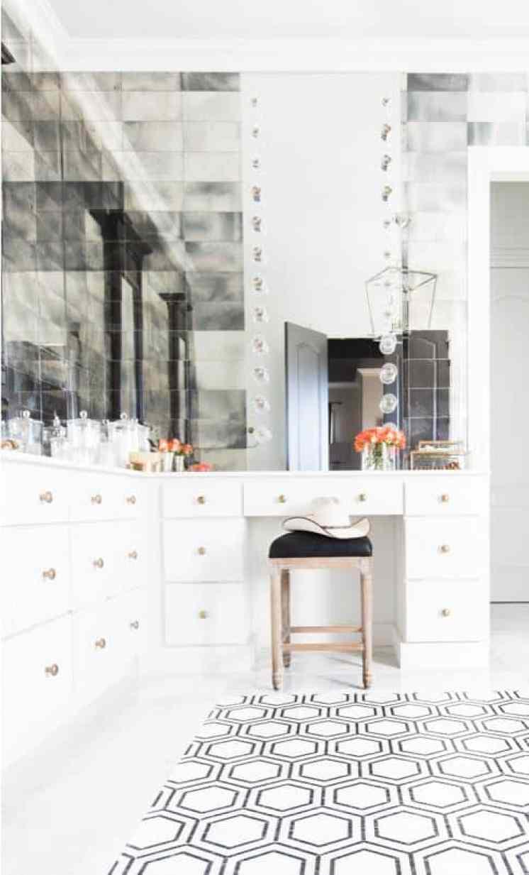 Geometric Shapes Decor Hexagon Tile Floor Bathroom