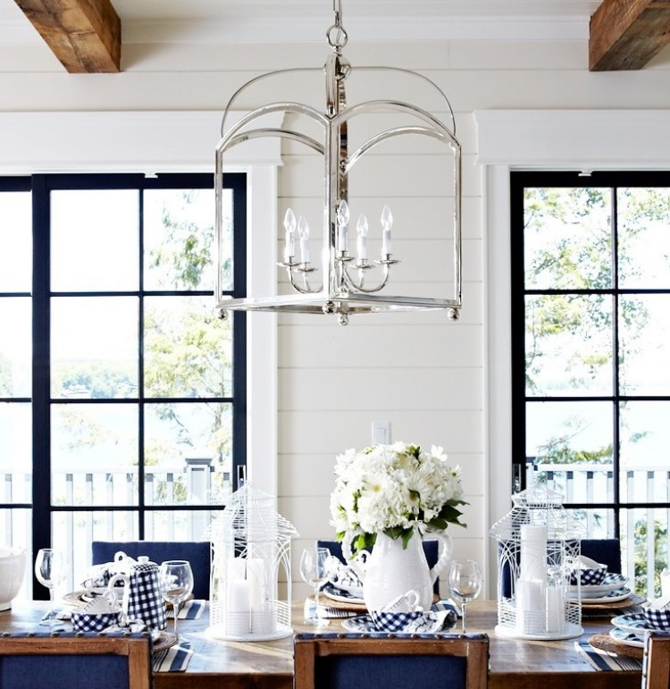 Modern Country Cottage Dining Room Silver Lantern