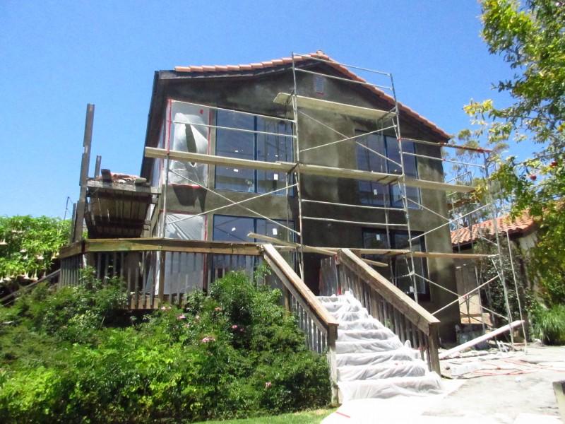 Malibu Home Renovation Side Exterior View Cement Coat Stucco