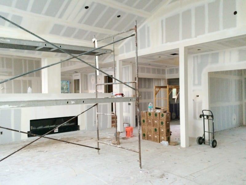 Malibu Home Renovation Living Room Dry Wall Hung