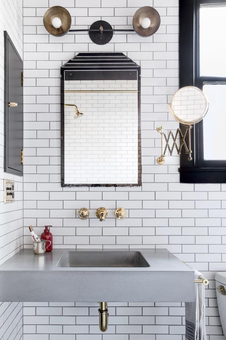 Small Bathroom Ideas in Black, White & Brass | COCOCOZY