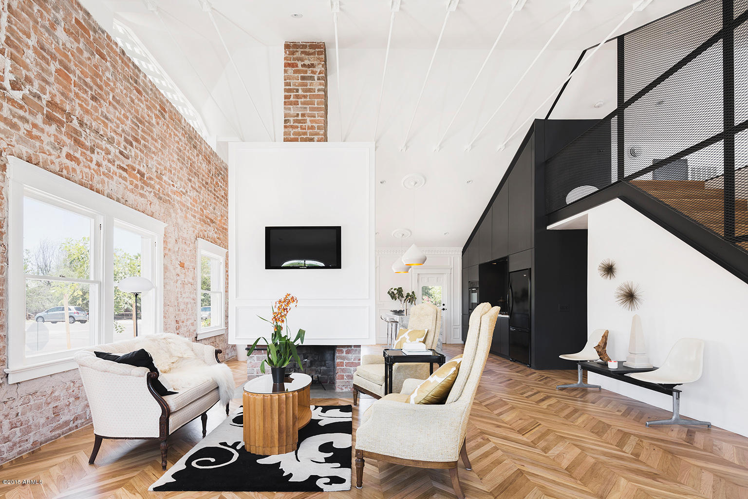 Exposed brick wall modern bungalow style - White walls living room ...