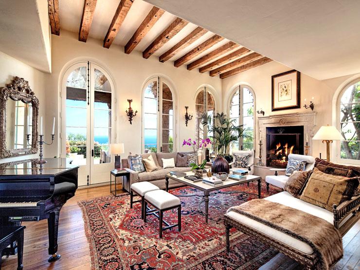 Million Dollar Tuscan Home Living Room