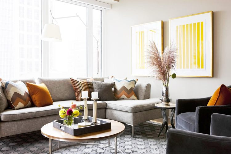 Living room with bright yellow accents