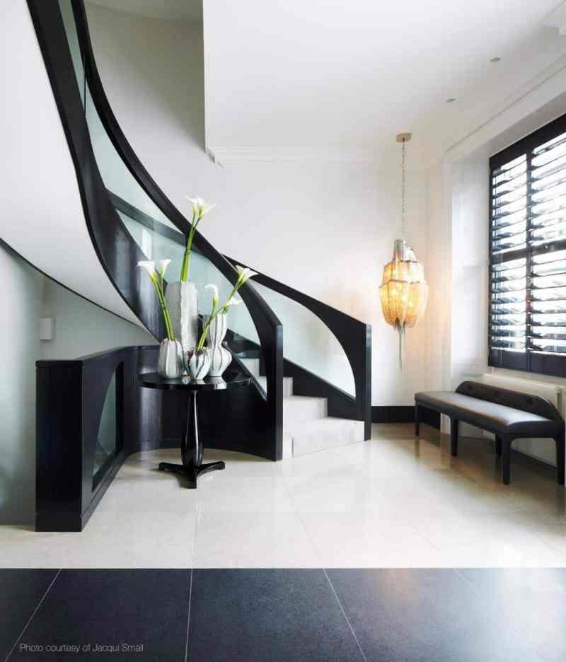 staircase black white stairs cococozy kellyhoppeninteriors