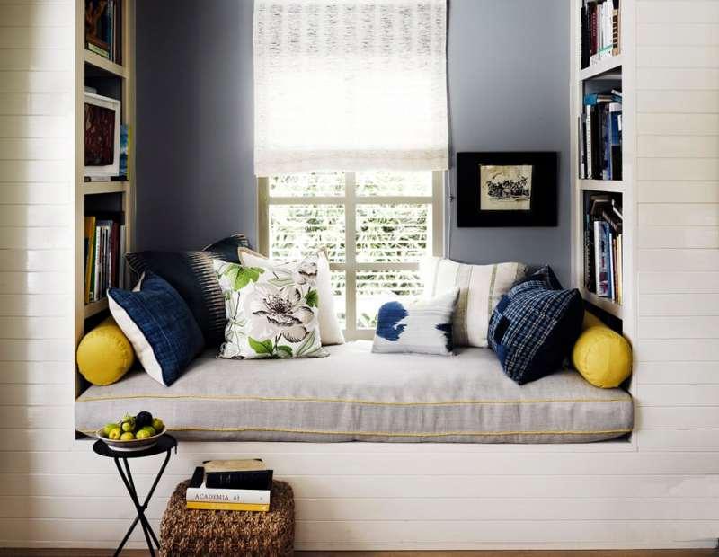 Yellow home design ideas window seat