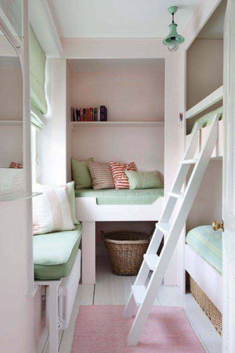 bunkrooms bunk beds pink green