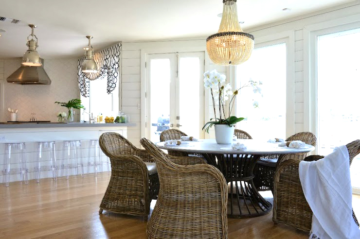 French empire chandelier in a dining room