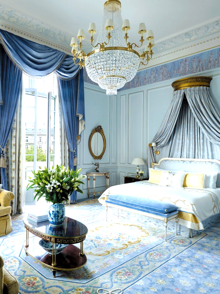 French empire chandeliers blue bedroom