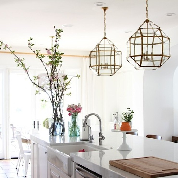 brass pendant lights lanterns kitchen island 2