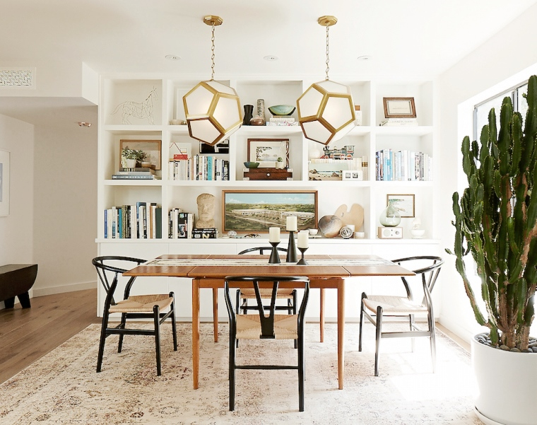 dining room wishbone chairs pendant lights bookshelves cococozy
