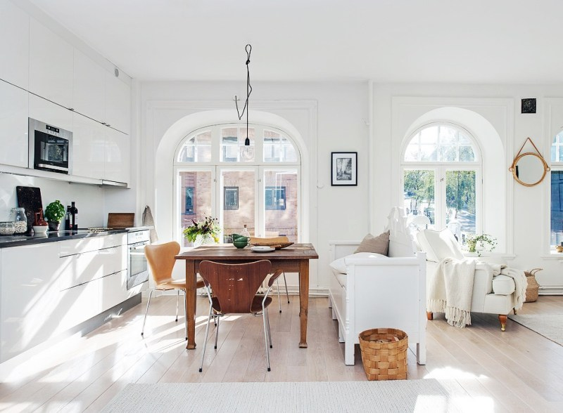 open floor plan white kitchen dining room swedish cococozy