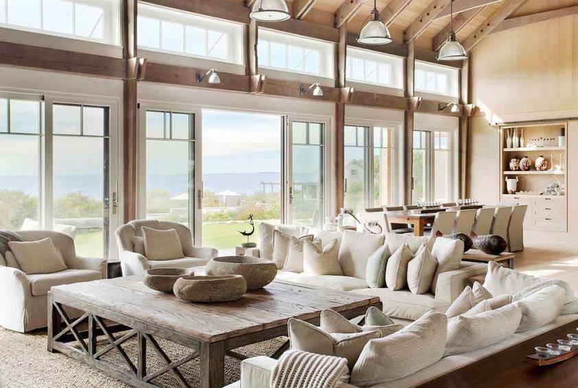 Open floor plan living room dining room ocean view