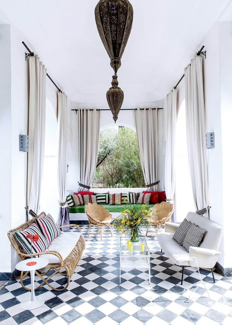 Moroccan Dream Home Tour Covered Patio Black White Tile