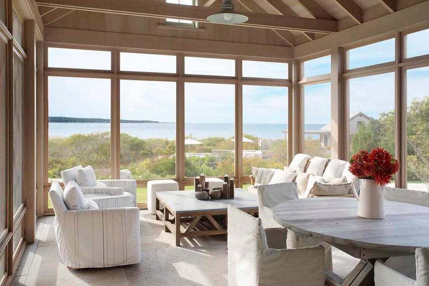 Covered porch waterfront