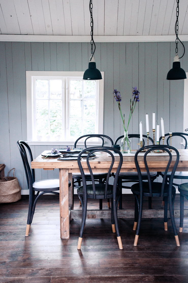 Rustic dining room table ship lap walls