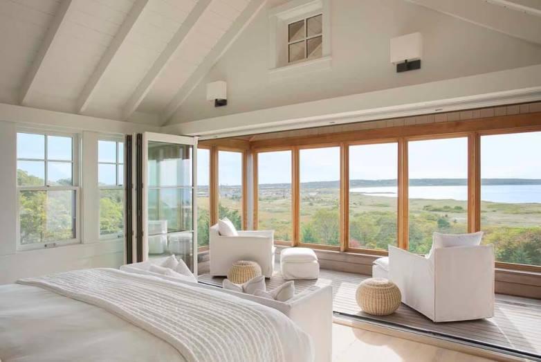 Master bedroom patio wrap around windows