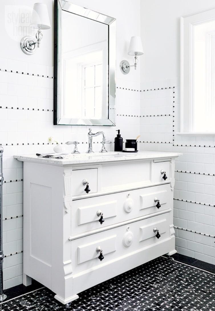 White on black bathroom white vanity black basketweave tile floor white on black bathroom white vanity black basketweave tile floor cococozy styleathome dailygadgetfo Images